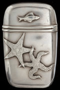 Silver Smalls:Match Safes, A GEORGE SHIEBLER SILVER MATCH SAFE, New York, New York, circa1900. Marks: (winged S), STERLING, 72. 2-1/8 inches high ...