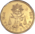 Mexico, Mexico: Republic gold 20 Pesos 1871 Mo-M UNC Details (SurfaceHairlines) NGC,...