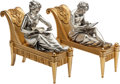 Bronze:European, A PAIR OF FRENCH GILT AND SILVERED BRONZE FIGURAL CHENET, BouhonFrères, Paris, France, late 19th century. Marks: BOUHON F...(Total: 2 Items)