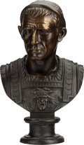 Bronze:European, A BRONZE BUST OF JULIUS CAESAR, 20th century. 24 inches high (61.0 cm). ...