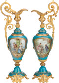Ceramics & Porcelain, Continental:Modern  (1900 1949)  , A PAIR OF SÈVRES-STYLE PORCELAIN AND GILT BRONZE EWERS, 20th century. 22-3/4 inches high (57.8 cm). ... (Total: 2 Items)