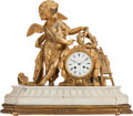 Decorative Arts, French:Other , A FRENCH GILT BRONZE FIGURAL CLOCK ON A MARBLE AND GILT WOOD BASE,late 19th century. 18 inches high x 22-1/2 inches wide (4...