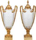 Glass, A PAIR OF FRENCH BACCARAT-TYPE CUT-GLASS AND GILT BRONZE MOUNTED COVERED URNS, 20th century. 20 inches high (50.8 cm). ... (Total: 2 Items)