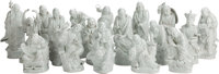 EIGHTEEN CHINESE BLANC DE CHINE LOHAN FIGURES 20 inches high (50.8 cm)