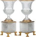 Decorative Arts, French:Other , A PAIR OF FRENCH BACCARAT-TYPE CUT-GLASS URNS WITH GILT BRONZEMOUNTS, 20th century. 20-1/2 inches high (52.1 cm). ... (Total: 2Items)