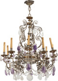 Decorative Arts, Continental:Lamps & Lighting, A PAIR OF ITALIAN BRONZE AND ROCK CRYSTAL TEN-LIGHT CHANDELIERS,20th century. 36 x 32 x 32 inches (91.4 x 81.3 x 81.3 cm). ...(Total: 2 Items)
