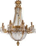 Decorative Arts, Continental:Lamps & Lighting, A PAIR OF NEOCLASSICAL-STYLE GILT BRONZE AND CUT-GLASSSIXTEEN-LIGHT CHANDELIERS, 20th century. 48 x 32 x 32 inches (121.9x... (Total: 2 Items)