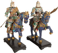 A PAIR OF LARGE CHINESE CLOISONNÉ AND BONE FIGURAL GROUPS ON EBONIZED WOOD BASES 36 x 28 x 13 inches (91.4 x 71.1...
