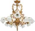 Lighting:Chandeliers, A LOUIS XV-STYLE GILT BRONZE AND PORCELAIN THIRTEEN-LIGHT CHANDELIER, 20th century. 30 x 27 x 27 inches (76.2 x 68.6 x 68.6 ...