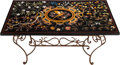 Decorative Arts, Continental:Other , A PIETRA DURA TABLE TOP WITH WROUGHT IRON BASE, late 20th century.36 inches high x 58 inches wide (91.4 x 147.3 cm) (table ...(Total: 2 Items)