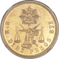 Mexico, Mexico: Republic gold 10 Pesos 1872/1 Mo-M/C MS63 NGC,...