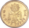 Mexico, Mexico: Republic gold 10 Pesos 1873 Oa-E MS62 NGC,...