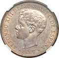 Philippines, Philippines: Spanish Colony - Alfonso XIII Peso 1897-SGV MS63 NGC,...