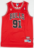 Basketball Collectibles:Uniforms, Dennis Rodman Signed Chicago Bulls Jersey....