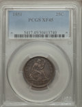 Seated Quarters: , 1851 25C XF45 PCGS. PCGS Population (8/35). NGC Census: (2/24). Mintage: 160,000. Numismedia Wsl. Price for problem free NG...