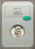Washington Quarters: , 1937 25C MS67 NGC. CAC. NGC Census: (67/0). PCGS Population (68/0).Mintage: 19,701,542. Numismedia Wsl. Price for problem ...