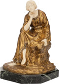 Bronze:European, A FRENCH GILT BRONZE AND IVORY FIGURE ON MARBLE BASE, after Théophile François Somme, early 20th century. Marks: TH. S...