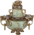 Asian:Chinese, A CHINESE JADE COVERED CENSOR. 5-1/2 inches high x 5-1/4 incheswide (14.0 x 13.3 cm). ... (Total: 2 Items)