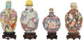 Asian:Chinese, FOUR CHINESE PORCELAIN SNUFF BOTTLES WITH STANDS. Marks: (chop marks). 3-3/8 inches high (8.6 cm) (tallest). ... (Total: 4 Items)