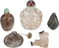 Asian:Chinese, FIVE CHINESE AGATE SNUFF BOTTLES. 3-3/4 inches high (9.5 cm)(tallest). ... (Total: 5 Items)