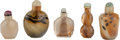 Asian:Chinese, FIVE CHINESE AGATE SNUFF BOTTLES. 2-7/8 inches high (7.2 cm)(tallest). ... (Total: 5 Items)