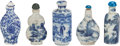 Asian:Chinese, FIVE CHINESE PORCELAIN SNUFF BOTTLES. Marks: (chop marks). 3-1/8inches high (7.9 cm) (tallest). ... (Total: 5 Items)