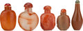 Asian:Chinese, FIVE CHINESE RED AGATE SNUFF BOTTLES. 3 inches high (7.6 cm)(tallest). ... (Total: 5 Items)