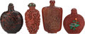 Asian:Chinese, TWO CHINESE CINNABAR, AN AMBER AND A PORCELAIN SNUFF BOTTLE . Marksto porcelain bottle: (chop marks). 3-1/2 inches high (8.... (Total:4 Items)