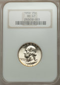 Washington Quarters: , 1959 25C MS67 NGC. NGC Census: (66/0). PCGS Population (7/0).Mintage: 24,300,000. Numismedia Wsl. Price for problem free N...