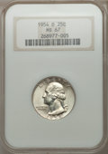 Washington Quarters: , 1954-D 25C MS67 NGC. NGC Census: (47/0). PCGS Population (10/0).Mintage: 42,305,500. Numismedia Wsl. Price for problem fre...