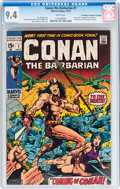 Bronze Age (1970-1979):Adventure, Conan the Barbarian #1 Don/Maggie Thompson Collection pedigree (Marvel, 1970) CGC NM 9.4 White pages....