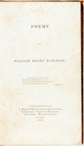 Books:Literature Pre-1900, [Slavery Abolition]. William Henry Burleigh. Poems.Philadelphia: J. Miller, 1841. First edition. Contemporary s...
