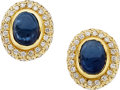 Jewelry, SAPPHIRE, DIAMOND, GOLD EARRINGS. ...