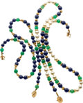 Jewelry, LAPIS LAZULI, CHRYSOPRASE, CULTURED PEARL, GOLD NECKLACES. ... (Total: 2 Items)