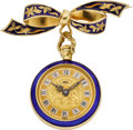 Estate Jewelry:Other , ENAMEL, GOLD LAPEL WATCH. ...