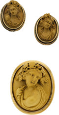 Estate Jewelry:Coin Jewelry and Suites, VICTORIAN LAVA CAMEO, GOLD JEWELRY SUITE. ... (Total: 2 Items)