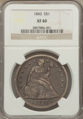Seated Dollars: , 1843 $1 XF40 NGC. NGC Census: (35/362). PCGS Population (78/378).Mintage: 165,100. Numismedia Wsl. Price for problem free ...