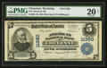 National Bank Notes:Wyoming, Cheyenne, WY - $5 1902 Plain Back Fr. 606 The American NB Ch. # 11380. ...