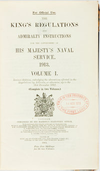 [Winston Churchill's Copy] [British Navy]. The King's Regulations and Admiralty Instructions for the Government