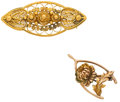 Estate Jewelry:Brooches - Pins, Gold Brooches. ... (Total: 2 Items)
