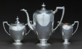 Silver Holloware, American:Coffee Pots, A THREE PIECE AMERICAN SILVER COFFEE SERVICE, Reed & Barton,Taunton, Massachusetts, circa 1945. Marks to creamer: (eagle-R-...(Total: 3 Items)
