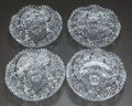Art Glass:Other , FOUR SMALL CUT-GLASS BOWLS, 20th century. 6 inches diameter (15.2cm). ... (Total: 4 Items)