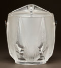 Art Glass:Lalique, LALIQUE CLEAR AND FROSTED GLASS AND SILVERED METAL ICE BUCKET.Circa 1960. Engraved Lalique, France. Ht. 9-1/2 in.. ...(Total: 3 Items)