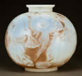 Art Glass:Lalique, R. LALIQUE OPALESCENT GLASS POISSONS VASE WITH SEPIA PATINA.Circa 1921. Molded R. LALIQUE and engraved Laliqu...