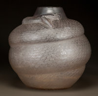 R. LALIQUE CLEAR AND FROSTED GLASS SERPENT VASE Circa 1924. Molded R. LALIQUE