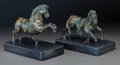 Bronze:Contemporary, A PAIR OF PATINATED BRONZE AND ONYX FIGURES, 20th century. 5-1/4 x7 x 4 inches (13.3 x 17.8 x 10.2 cm) . ... (Total: 2 Items)