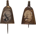 Political:Ferrotypes / Photo Badges (pre-1896), Benjamin Harrison and Grover Cleveland: Whisk Broom Stickpins....