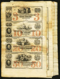 Obsoletes By State:Connecticut, New London, CT- Union Bank in New-London $3-$10-$20-$50 G176a-G216a-G230a-G236a Uncut Sheets Thirty Examples. ... (Total: 30 sheets)