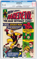 Silver Age (1956-1969):Superhero, Daredevil #1 (Marvel, 1964) CGC NM 9.4 White pages....