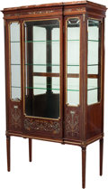 Furniture : Continental, A LOUIS XVI-STYLE MAHOGANY, MOTHER-OF-PEARL INLAID AND GILT METALMOUNTED PARTIALLY PAINTED VITRINE WITH ROUGE MARBLE TOP, c...
